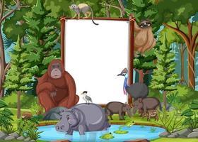 leeres Banner in der Regenwaldszene mit wilden Tieren