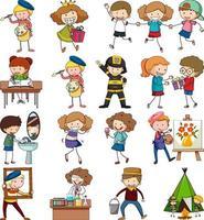 Satz verschiedene Gekritzelkinder Zeichentrickfigur