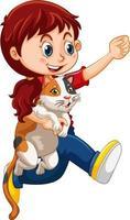 glückliche Mädchenkarikaturfigur, die eine niedliche Katze umarmt vektor