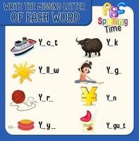 Schreiben Sie den fehlenden Buchstaben jedes Wortarbeitsblatts für Kinder