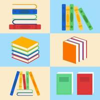 samling av färgglada biblioteksböcker vektor