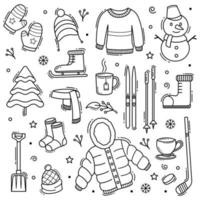 vinter doodle handritade objekt med linje konst stil vektor