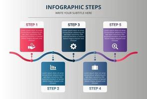 Gradienten-Infografik-Schritte mit fünf Optionen vektor