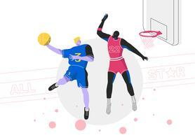 Knall taucht Basketball-Spieler-All-Star- Vektor-flache Illustration ein vektor