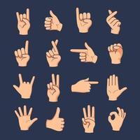 uppsättning olika gester hand med handritad vektorillustration