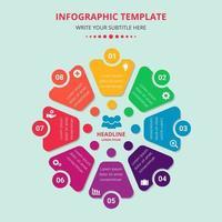 Businessplan Infografiken Vorlage mit acht Optionen vektor