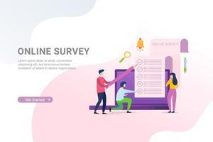 Online-Umfrage und Umfrage mit Personen, die das Umfrageformular auf dem Laptop ausfüllen vektor