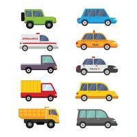 söta bilfordon tecknade samlingar för förskoleutbildning och barn vektor