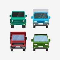 Autos Vektor Set Vorderansicht Lieferung Transport und Offroad Vektor-Illustration