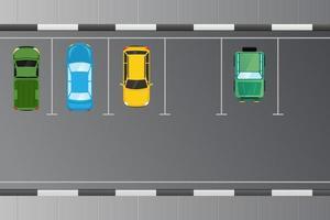 Pkw-Fahrzeug von oben im Parkplatzkonzept vektor