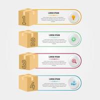 moderne Infografik mit 3D-Verpackungsboxen vektor