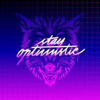 Bleib optimistisch Typografie Wolf Vaporwave Vector