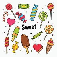 Süßigkeiten Süßigkeiten Gekritzel isoliert auf weißem Hintergrund Vektor-Illustration