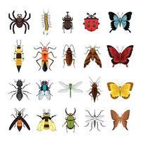 Satz Insekten-Tier-Sammlungsvektorillustration lokalisiert auf weißem Hintergrund