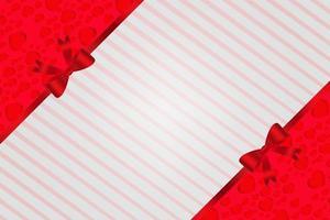 eleganter roter Liebeshintergrund mit Herzen und Streifen und Bandschleife vektor