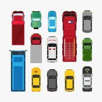 bilar transport set ovanifrån platt vektor fordon illustration