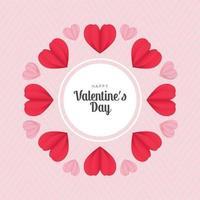 Satz Herzen im Valentinstaggruß des Papierschnittstils