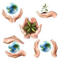 realistische Hände Ökologie Symbolsatz vektor