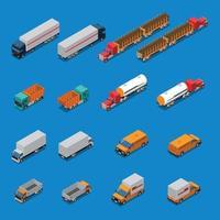isometrische Symbole für LKW-Fahrzeuge vektor