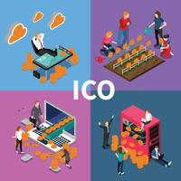 ico blockchain koncept isometrisk 2x2 vektor