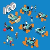 isometrische Zusammensetzung des ico-Blockchain-Konzepts vektor