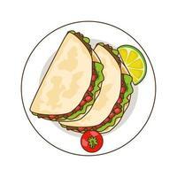 köstliche Tacos Fast-Food-Ikone vektor