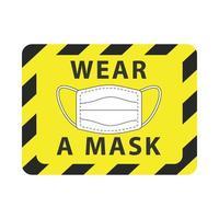 gelbes Warnschild der Maske tragen vektor