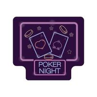 poker natt kasino neonljus etikett vektor