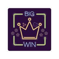 stora vinster bokstäver och krona casino neon ljus etikett vektor