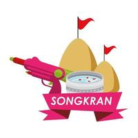 Schüssel mit Wasser und Songkran Banner vektor