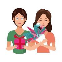 schöne Mütter mit Blumen und Geschenkfiguren vektor