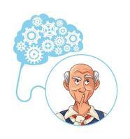 alter Mann und Alzheimer-Patient mit Zahnrädern im Gehirn vektor