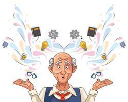 alter Mann und Alzheimer-Patient mit Gesundheitssymbolen vektor