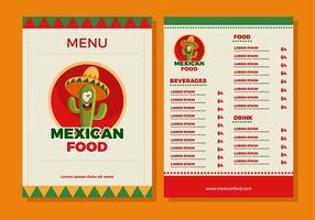 Mexikanischer Essen-Menü-Schablonen-Vektor