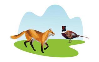 wilde Fasanenvogel- und Fuchs-Tierikonen vektor