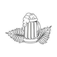 Bierkrug mit Blättern isolierte Ikone vektor