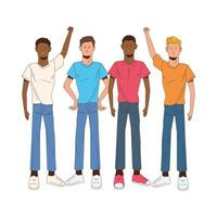 Interracial Männer Avatare Zeichen Symbole vektor