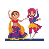 dansande diwali kvinna och man med traditionell klädvektordesign vektor