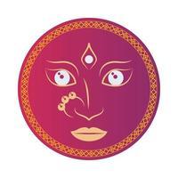 hinduisk gudinna ansikte navratri i rött emblem vektor