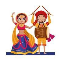 tanzende Diwali Frau und Mann mit traditionellem Kleidungsvektorentwurf vektor