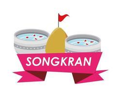 Schüssel mit Wasser und Songkran-Band vektor