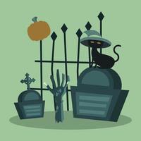 Halloween-Katze mit Hut auf Grabtor und Zombie-Handvektorentwurf vektor