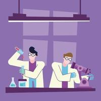 Coronavirusvaccins forskningsdesign med kemister vektor
