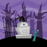 Halloween Zombie Hand und Katze auf einem Grab Vektor Design
