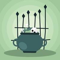 Halloween-Kessel mit Torvektorentwurf vektor