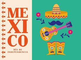Unabhängigkeitstag von Mexiko Feier mit Hut Gitarre und Stiefel Vektor-Design vektor