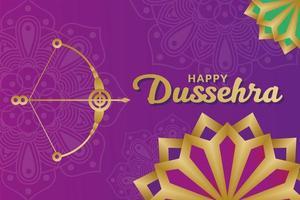 Happy Dussehra Design mit Pfeil und Bogen