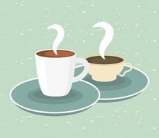 Kaffeetassen auf grünem Hintergrundvektorentwurf vektor
