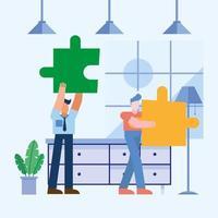 Teamwork-Konzept mit Männern, die Rätsel halten vektor