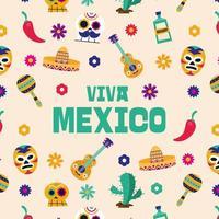Unabhängigkeitstag von Mexiko Feier Muster vektor